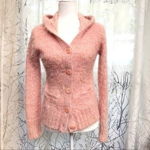 Anthropologie pink fuzzy button up hooded sweater